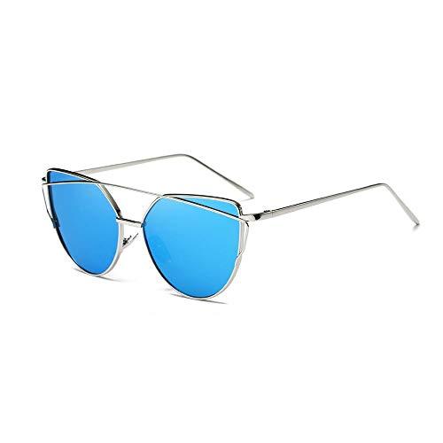 Hexiaoyi Damen/Herrenmode Trend Sonnenbrille Metall Vintage-Sonnenbrillen (Color : Silver/Blue Lens)