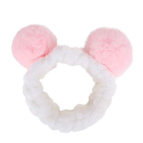 Bandeaux élastiques en polaire corail avec pompons pour le bain, le spa, le maquillage, le visage, les cosmétiques.