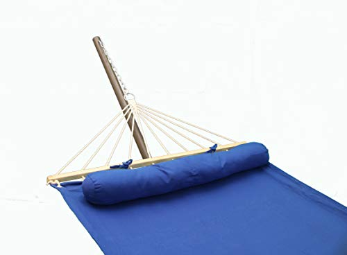 Project One Hammock with Pillow, Quick Dry Hammock with Solid Wood Spreader Bar Outdoor Patio Yard Poolside Hammock. Waterproof and UV Resistance, 350 Pound Capacity (Blue)