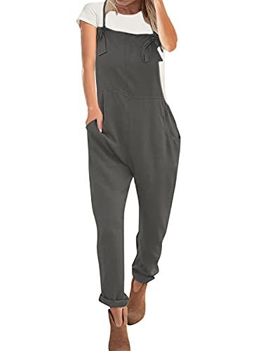 VONDA Latzhose Damen Jumpsuit Retro Lange Overall Größe Jumpsuits Baggy Sommerhose A-Grau XL
