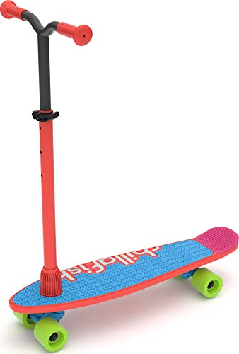 Chillafish Skatieskootie Customizable Training Skateboard and Lean-to-Steer scooter with Detachable Stability Handlebar, Multiple Deck & Tail color options, Ages 3 +, Red Mix