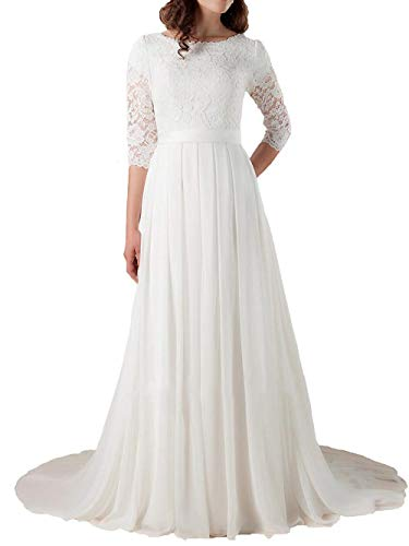 Brautkleid Hochzeitskleider Lang Damen Brautmode mit ärmel Chiffon Spitze A Linie Weiß EUR54