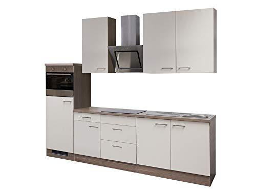 Smart Möbel Küchenzeile 270 cm Magnolie/Tennessee Eiche mit Dunstabzugshaube, Kühlschrank, Backofen, autarkem Ce