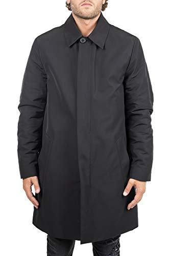 cappotto uomo calvin klein Calvin Klein Cappotto Nero Mac Coat in Nylon Imbottito