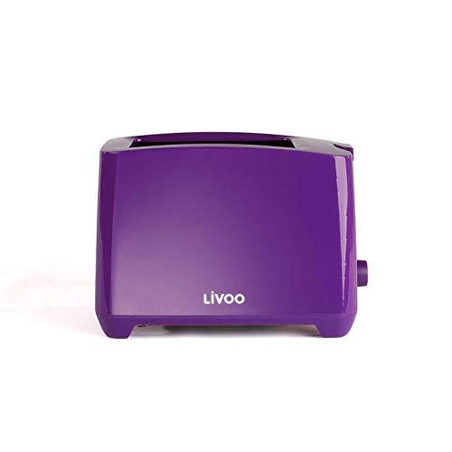 Tostadora lila con bandeja recogemigas termostato regulable (apagado manual, 750 W, 2 ranuras para tostadas)