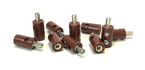 BELI-BECO 61/7 Querlochstecker - Miniatur-Bananenstecker mit Stift-Ø: 2,6mm - 10 Stück (Braun)