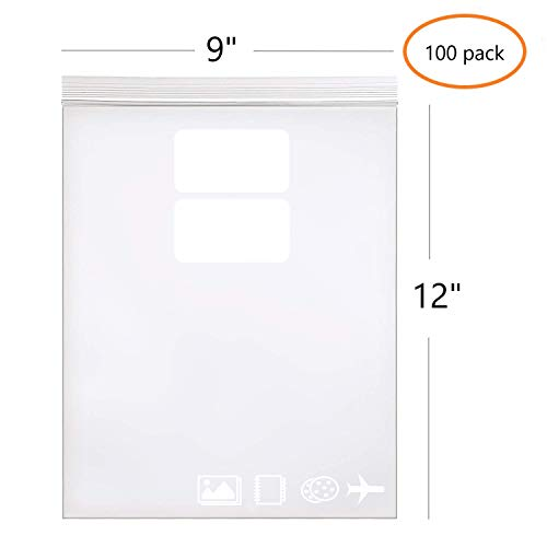 9' x 12', 2.5 Mil (Pack of 100) Heavy Duty Plastic Reclosable Zipper Bags with Writable White Blocks Resealable Zip Lock Food Storage Freezer Bags