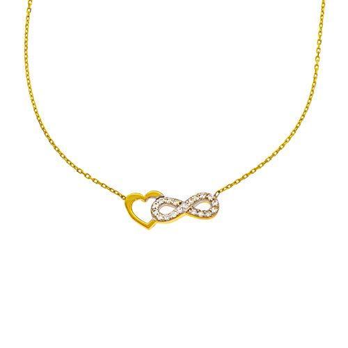 Stella-Jewellery 585er Gold Kette mit Herz Infinity Anhänger Unendlichkeit 42cm inkl. Etui Damen