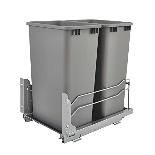 Rev-A-Shelf 53WC-2150SCDM-217 Double 50-Quart Undermount Kitchen Cabinet Pullout Waste Containers with Soft Close, Gray