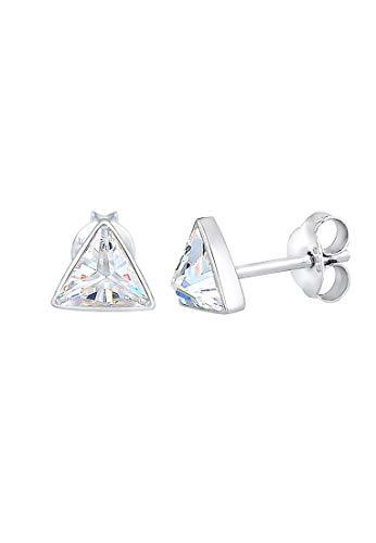 Elli Pendientes Mujer Pendientes Motivo Triángulo Liso con Cristales de Circonio en Plata Esterlina 925