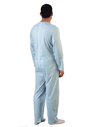 Rekordsan Pijama Antipañal Geriátrico Classic Hombre en Fresco Algodón con 1 Cremallera, Talla 4, Pack de 1 ⭐