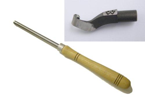 Wiedemann Ausdrehhaken klein gekröpft mit Halterstange für Drechsler drechseln, Woodturner Woodturning