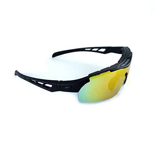 Brown Labrador Vetri di Riciclaggio polarizzati + REVO 5 obiettivi intercambiabili Occhiali Sportivi UV 400, Correre Trail Running, Mountain Bike, Triathlon, Uomini e Donne (Nero Opaco)