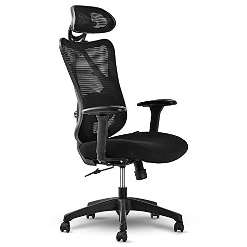 LIFEASE Ergonomischer Bürostuhl, atmungsaktiver Netz-Schreibtischstuhl mit Rückenlehne, verstellbare Armlehne und Kopfstütze, gepolsterter Sitz, Computerstuhl mit leisen Rädern (schwarz)