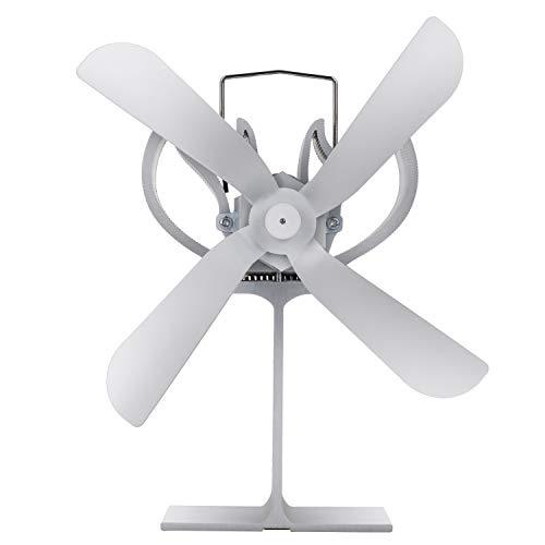 GYHH Ventilador De Chimenea Térmica Ventilador De 4 Aspas para Leña/Quemador De Leña/Estufa: Respetuoso con El Medio Ambiente [Clase Energética A +++] (Silver)