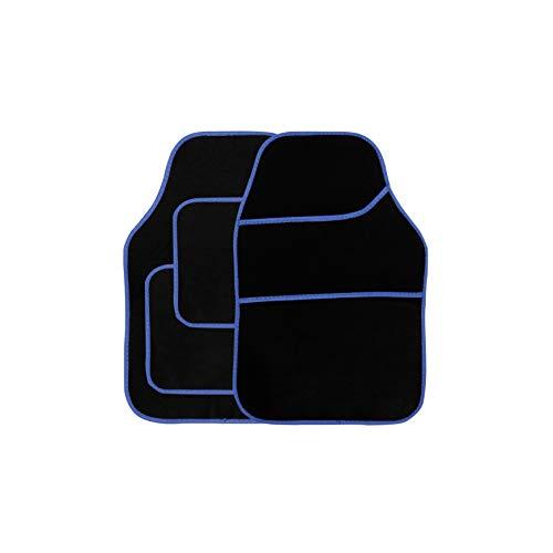 Streetwize - Velour Car Floor Mat Set [Black] Set of 4, Anti-Slip Car Mats with Blue Binding - Car Interior Accessory, Universal Fit