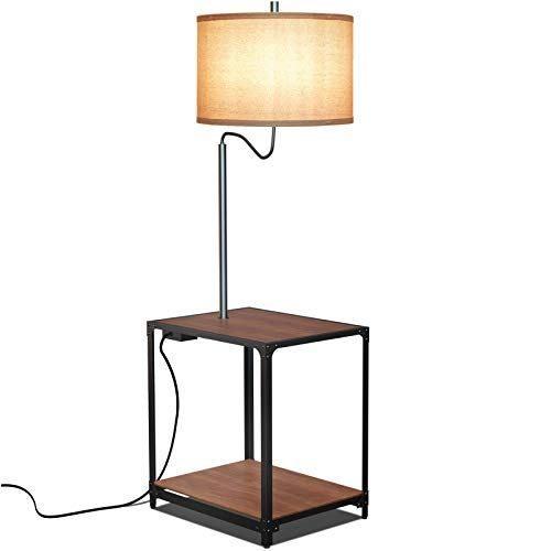 Hykolity Floor Lamp with End Table and USB Charging Port, Modern Bedside Nightstand Lighting, Walnut Attached Side Table with Shelves for Living Room, Bedroom, Guest Room, Bulb Sold Separately