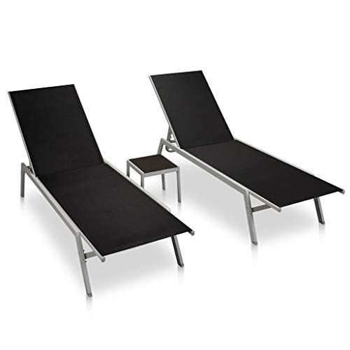 vidaXL 2X Sonnenliege mit Tisch Gartenliege Relaxliege Liege Liegestuhl Gartenmöbel Strandliege Freizeitliege Stahl Textilene Schwarz
