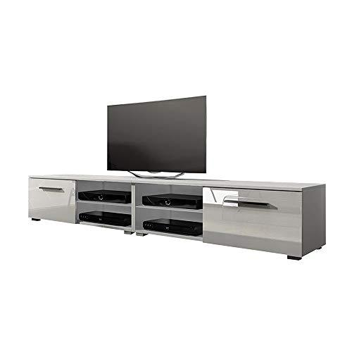 Selsey Tenus Single tv-board, lage tv-kast, tv-kast zonder LED 200 cm matwit/wit hoogglans