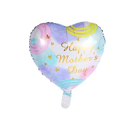 ABOOFAN 11 Piezas Feliz Día de Las Madres Globo Romántico Colorido Letras Impresas Corazón Amor en Forma de Globo Fondo de Pared Globo Decorativo para Madre Mamá Mujeres