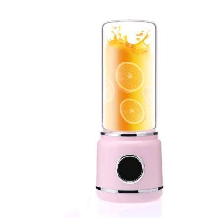 YWYW 420ml Citrus Juicer USB Rechargeable Blender Mixer Portable Mini Juicer Smoothie Machine Household Juice Extractor Small with Glass Cup Pink kshu (Color: Pink)