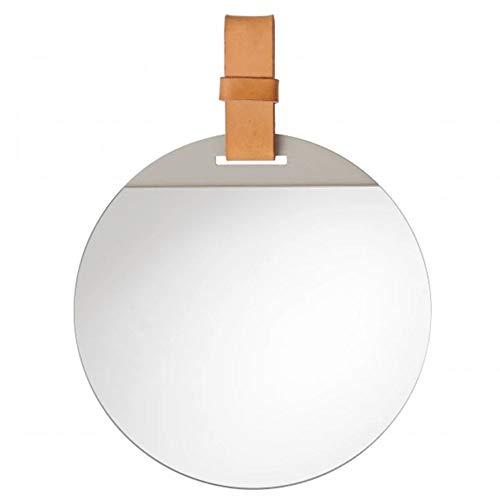 Badkamer spiegel Frameloos, slijtvaste muur spiegel make-up spiegel HD slaapkamer spiegel, eenvoudige mode leer opknoping band, moderne decoratieve spiegel diameter 30 cm - 60 cm