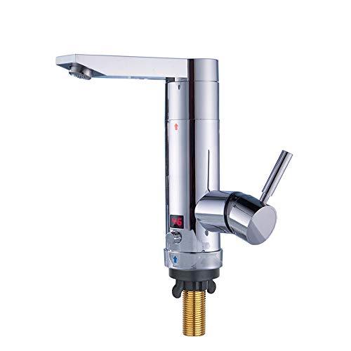 Elektrischer Wasserhahn,TopSer KA-006 Einstellbare Leistung Elektroheizung Küchenhähne,180°Schwenkbare Heiß- und Kalt-Elektroheizung Warmwasserbereiter mit Lcd-Temperaturanzeige für Küche,Waschraum