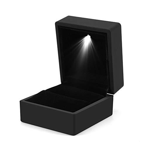 YuamMei 1pc Caja de anillo LED, Caja de anillo con luz cuadrada,...