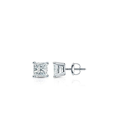 14k White Gold Princess-cut Simulated Cubic Zirconia Diamond Stud Earrings (1/4cttw,Excellent Quality) 4-Prong with Screw-backs by Diamond Wish