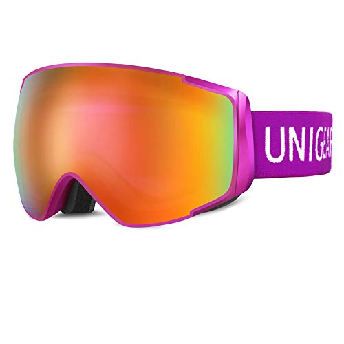 Unigear Skibrille Kinder Herren Damen Snowboardbrille OTG UV-Schutz Anti-Fo, Hyperboloid Schneebrille Augenschutz Anti-Schwindel Helmkompatible für Skifahren Snowboard, X2