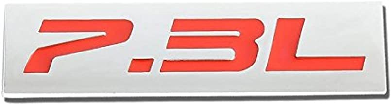UrMarketOutlet 7.3L Red/Chrome Aluminum Alloy Auto Trunk Door Fender Bumper Badge Decal Emblem Adhesive Tape Sticker