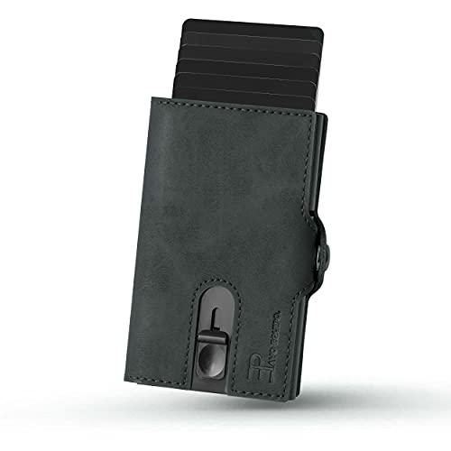 PAVO EQUIPO Slim Wallet | Kartenetui |Kartenetui mit Geldclip und Münzfach |Geldbörse | RFID Schutz |Mini Portemonnaie (Grau)