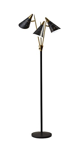 Adesso Home 3249-01 Transitional Three Light Floor Lamp from Nadine Collection Finish, 19.00 inches, Black/Antique Brass