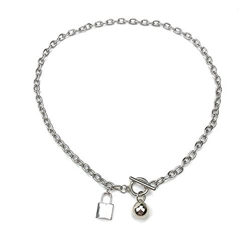 Collar OT de varilla recta de bola de metal de estilo europeo y americano collar de acero de titanio con bloqueo de estilo oscuro femenino
