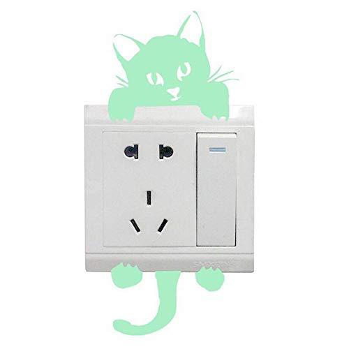 EPRHY 2 Stück Leuchtende Wandschalter-Aufkleber niedliche Katze Aufkleber Badezimmer Schlafzimmer Kinderzimmer Fluoreszierendes Vinyl Lichtschalter-Aufkleber Panel Dekoration DIY