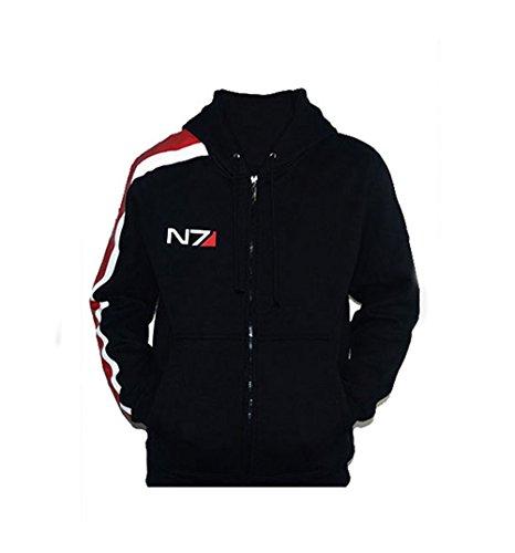 Elegant Men's Full Zip Fleece Hoodies Jacket Mass Effect N7 Sweatshirt (Asia M(Chest 38.6')=US XS)