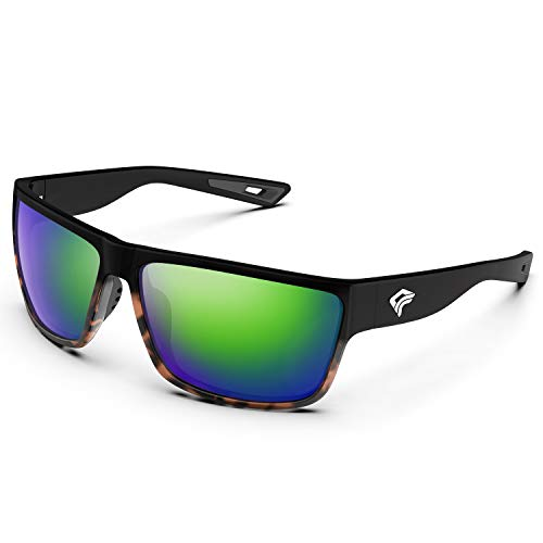 TOREGE Polarized Sports Sunglasses for Men and Women Cycling Running Golf Fishing Sunglasses TR26 (Black-Tortoise Frame &Ice Green Lens)