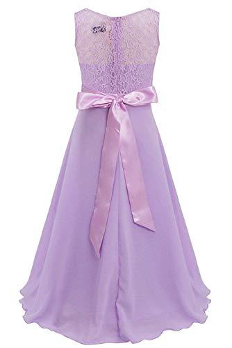 MJY Art- und Weisemädchen-sleeveless langes Chiffon- Spitze-Blumen-Kleid-Hochzeits-Brautjunfer-Festzug-formales Party-Abschlussball-Ballkleid,Lavendel,5-6 Jahre