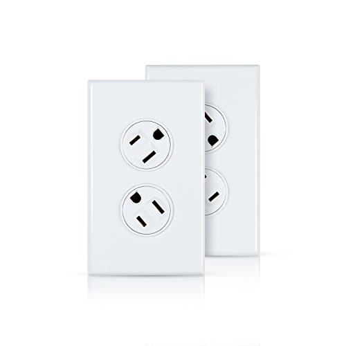360 Electrical 36092-W 15A Rotating Duplex Wall Outlet, White, Two-Pack