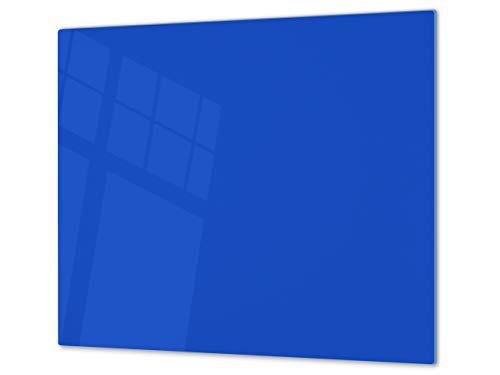 Cubre vitrocerámica y tabla de cortar de cristal templado – Superficie de vidrio templado resistente – UNA PIEZA (60 x 52 cm) o DOS PIEZAS (30 x 52 cm); D18 Serie de colores: N Azul Egipcio