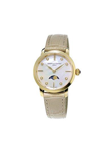 FREDERIQUE CONSTANT Damen Mondphase Quarz Uhr mit Leder Armband FC-206MPWD1S5