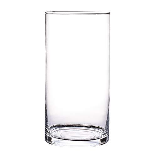 Glasvase, Transparent, KnikGlass Vase Glas Deko Blumenvase für Tischdeko und Hochzeit, Höhe 25 cm (#D)