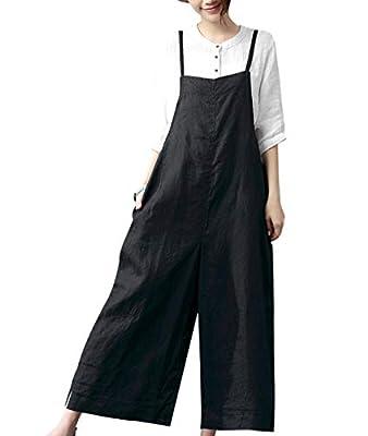 YESNO Women Casual Loose Boyfriend Cropped Bib Pants Summer Wide Leg Cotton Jumpsuits Rompers/w Pockets S-5X PZZ