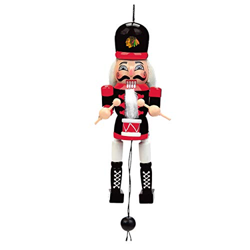 Chicago Blackhawks Pull String Wooden Nutcracker Ornament