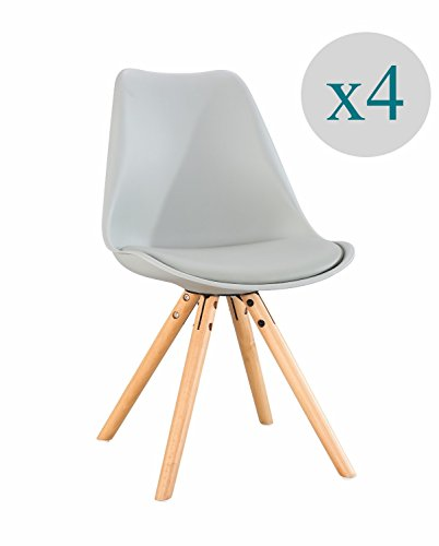 Aryana Home - Pack de 4 Chaise nordique Nordic (inspiration tower eame) Gris