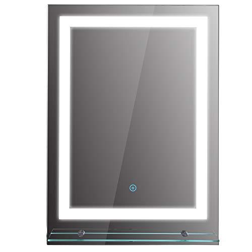 kleankin LED Badspiegel Badezimmerspiegel mit Beleuchtung Glas-Ablage 22W 70x50cm
