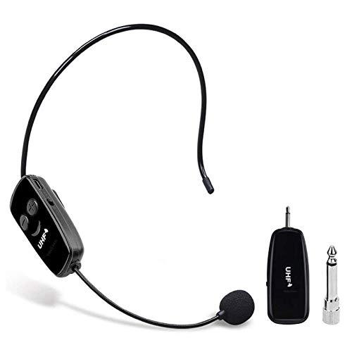 HebyTinco 2.4G micrófono inalámbrico, para amplificador de voz, la transmisión inalámbrica estable 40m,auriculares y de mano 2 en 1,para el amplificador de voz, altavocess y de mano 2 en 1