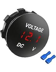 Bil Voltage Gauge Led-display Vattentät Volt Digital Round Shiny Panel Voltmeter Kompatibel Med Vehicle Motorcykel Truck Blue