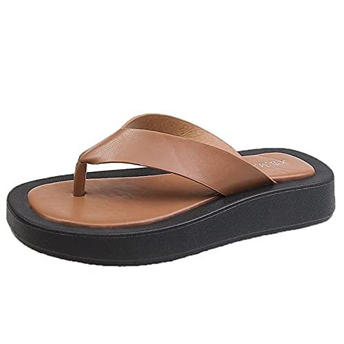 QQWD Sandalias Planas, Suave Y Resistente Al Desgaste Zapatos De Dedo, 2021 Novedad De Verano Antideslizante Piel Sintética Suave Peep-Toe Sandal,38