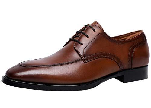 Zapatos Oxford Hombre con Cordones Cuero Moc Derbys para Vestir Casual de Negocios Boda Traje Formal Marrón 42 EU